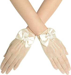 BABEYOND Wedding Flower Girsl Gloves Short Princess Bow Tie Lace Gloves Party