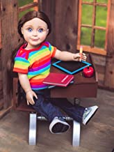 1930's Style Wooden 18 Inch Doll School Desk Compaitble with American Girl School Room Furniture Play! Includes Desk with Accessory Storage, Books, Chalk Board, Pencil and Apple for The Teacher!