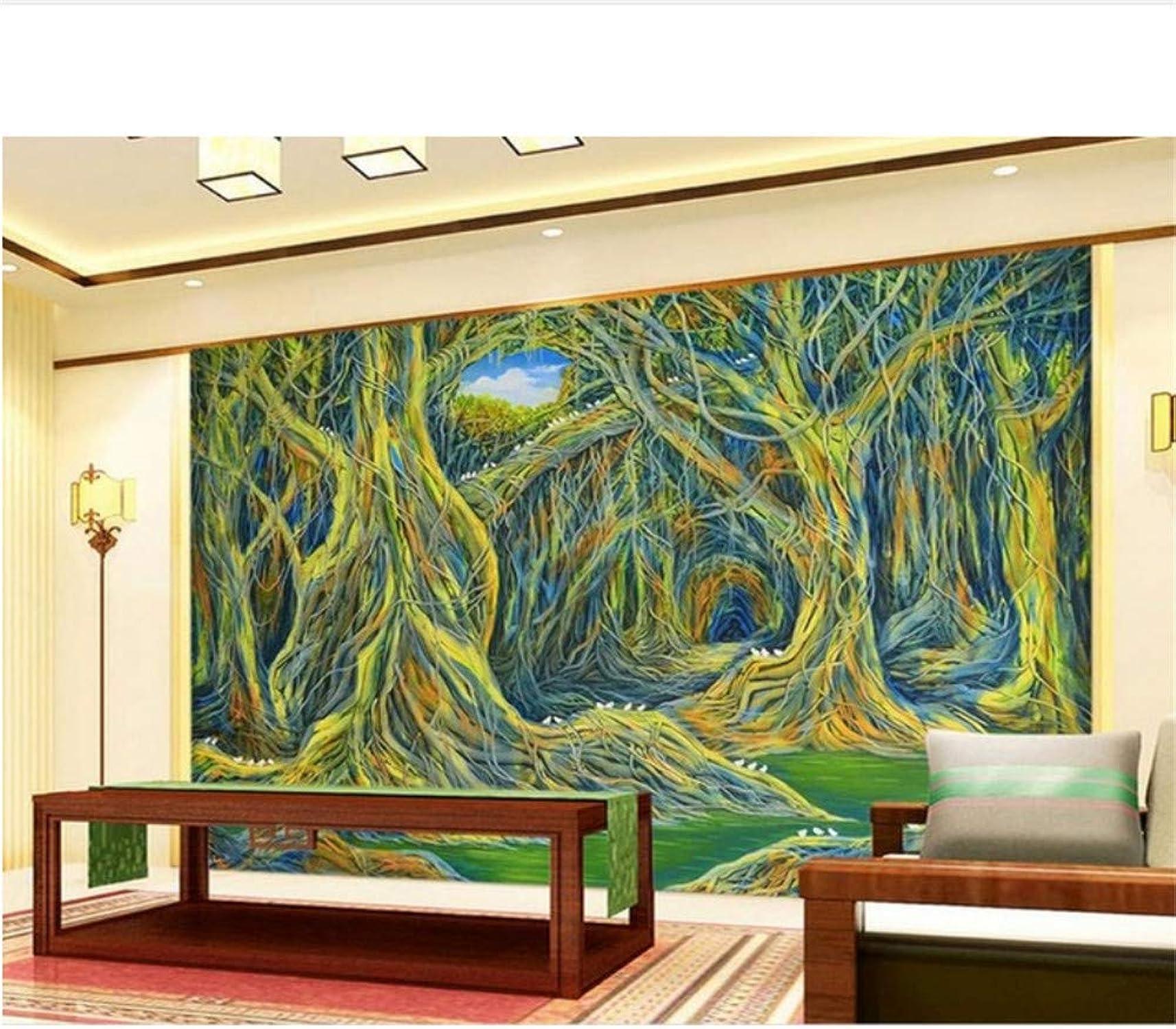 barato en alta calidad Qqasd personalizzare murales murales murales 3d Dipinto a mano astratto foresta pluviale 3d foto wallpaper per soggiorno 3d murales carta da parati stereoscopica-190X130CM  barato
