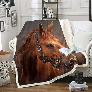 Erosebridal Kids Horse Plush Bed Blanket Queen Size Farm Animal Sherpa Blanket, Rustic Style Throw Blanket for Boys Girls ...