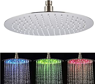 Fyeer 12 Inches LED Rain Shower Head Stainless Steel, High Pressure Rainfall Bathroom Fixed Shower Head Ultra Thin, Adjustable Ceiling Mounted with Silicone Nozzles, Brushed Nickel