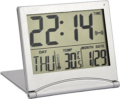 LCD Digital Reloj, Rainlo Plegable Escritorio Viaje Reloj, Temperatura Reloj Despertador