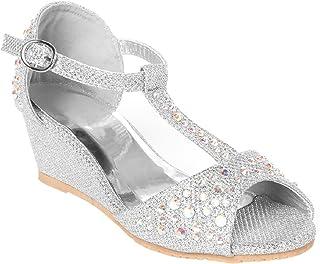 6e02899c601e OLIVIA K Girls Glitter and Rhinestone Open Toe Wedge Heel (Toddler Little  Girl)