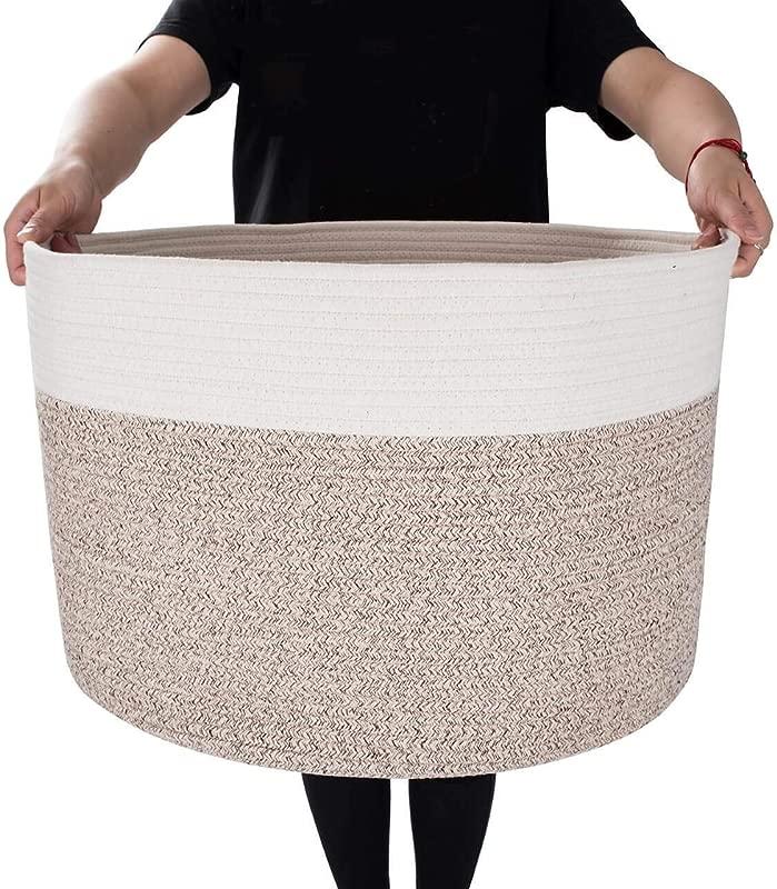 MINTWOOD Design XXXL Extra Large 22 X 22 X 14 Decorative Woven Cotton Rope Basket Laundry Basket Blanket Basket Baby Dog Toy Storage Baskets Bin Kid Laundry Hamper Natural Heathered Cream