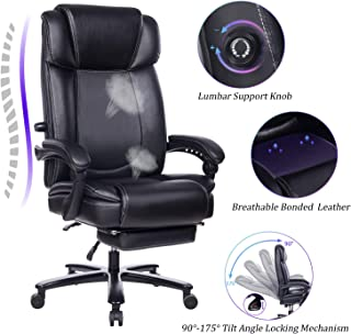 REFICCER Big and Tall Reclining Leather Office Chair - Metal Base High Back Executive Computer Desk Chair with Adjustable Built-in Lumbar Support, Angle Recline Locking System and Footrest, Black