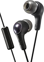 BLACK GUMY In ear earbuds with stay fit ear tips and MIC.  Wired 3.3ft colored cord cable with headphone jack.  Small, medium, and large ear tip earpieces included.  JVC GUMY HAFX7MB