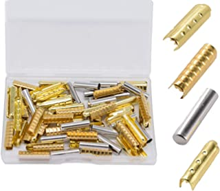 Metal Aglets Shoelaces Repair Tips Replacement End Assorted Head Bullet Smooth Lock Clips for Shoes Clothes DIY 80Pcs (Gold, Silver, Bronze, Ebony)