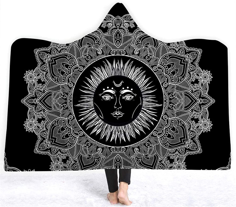 LCYCN 3D Buddha Serie Bedruckte Kapuze Winter Dicke warme weiche Plüsch Umhang,021,150  200cm