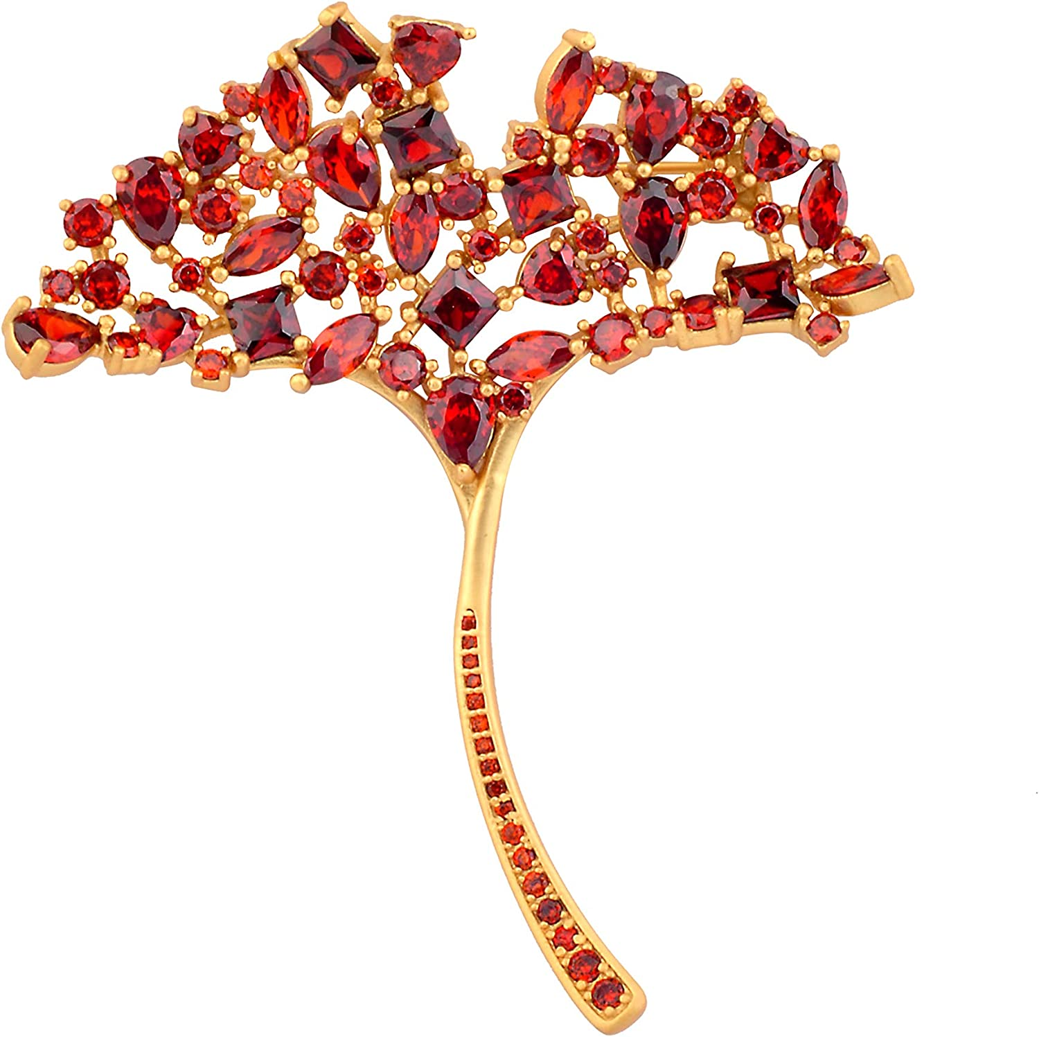 Philocaly Crystal Ginkgo Leaf Brooch Pin for Women Girls