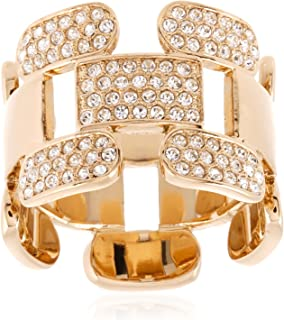 Swarovski Cube Gold Plated Crystal Band Ring - Size 18.15 mm