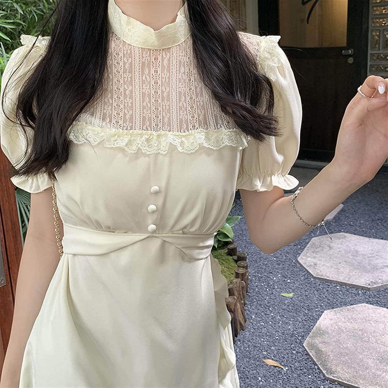 BXSM Bubble Sleeve Stand Collar Lace Stitching Waist Slim Ruffle Hepburn Black Dress (Color : White, Size : Small)