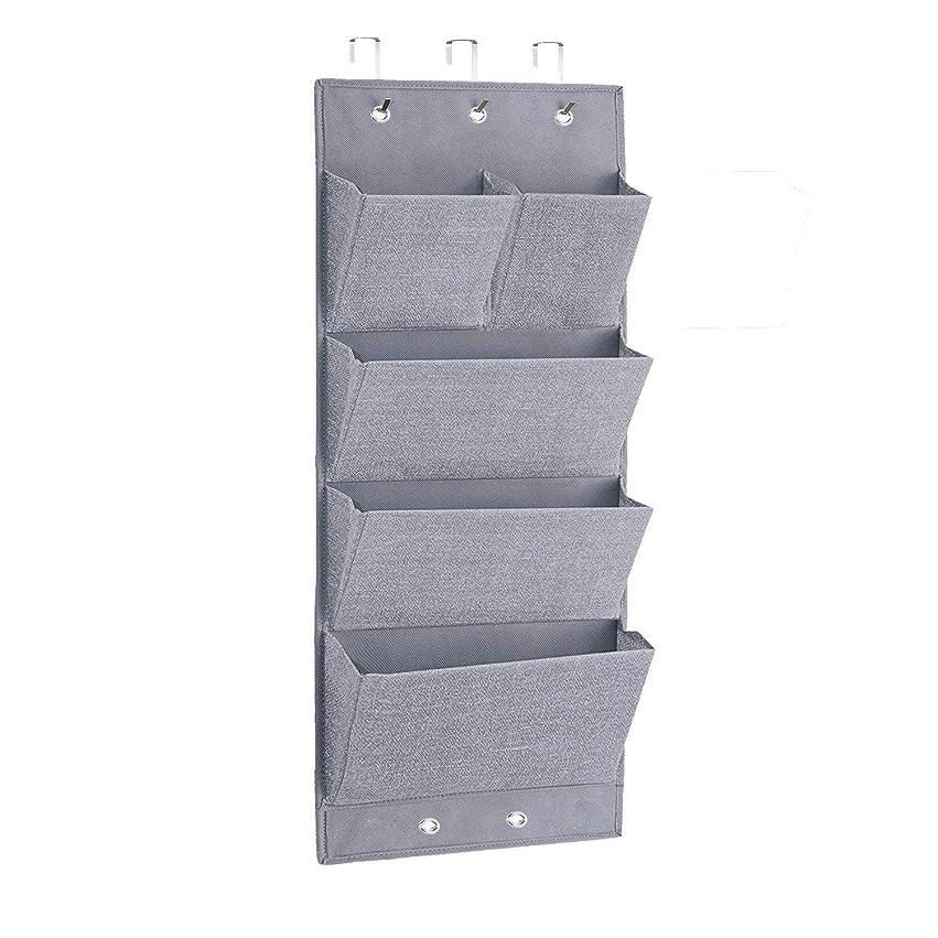 硬化する然としたボーナスウォールポケット 壁掛け収納 4段 5ポケット 掛けるフック付き