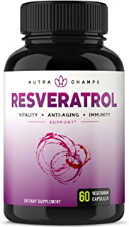 Resveratrol Supplement 1200mg - Extra Strength Formula for Maximum Anti Aging, Immune & Heart Health - 60 Vegan Capsules with Trans-Resveratrol, Green Tea Leaf, Acai Berry & Grape Seed Extract