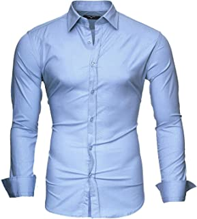 0f7b5423 Kayhan Hombre Camisa Manga Larga Slim Fit S-6XL - Modello Uni