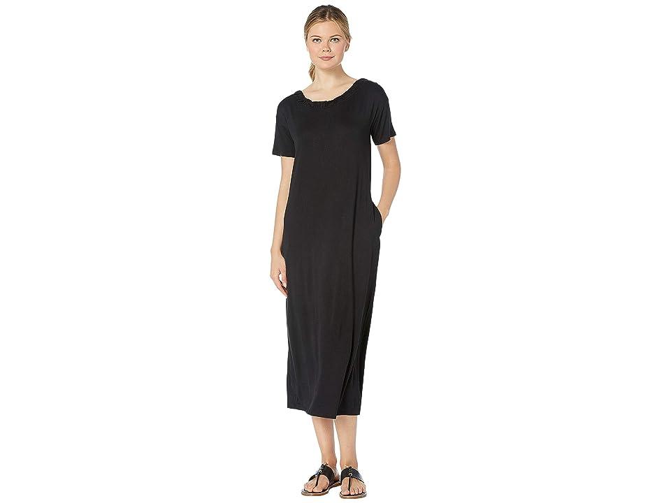 Bobeau Cinched Back Maxi Dress w/ Pockets (Black) Women