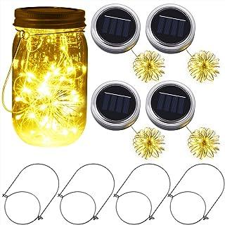 PChero イルミネーションライト ガラスソーラーライト メイソンジャー ソーラー充電 電球 装飾品 太陽光充電 プロポーズ 電池付 (4個セット)
