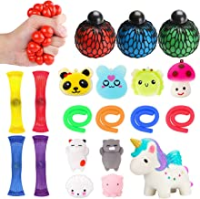 WATINC 20 Pack Sensory Fidget Toys Set, Kawaii Squishy, Mochi Squishies, Squeeze Ball, Mesh and Marble Toy, Stretchy String, Colorful Sensory Fidget Stretch Toy for ADHD Autism Stress Anxiety Relief