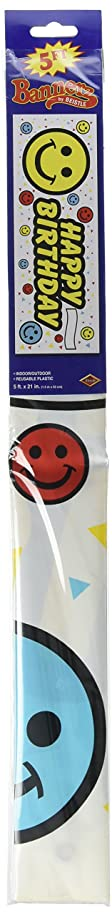 Birthday Smile Face Sign Banner Party Accessory (1 count) (1/Pkg)