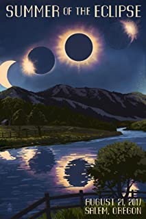 Salem, Oregon - Solar Eclipse 2017 - Summer of the Eclipse (16x24 Giclee Gallery Print, Wall Decor Travel Poster)