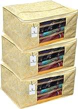 Kuber Industries 3 Pieces Non Woven Wardrobe Organizer Saree Cover Set, Gold