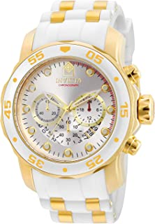 Men's Pro Diver Scuba 48mm Gold Tone Stainless Steel and White Silicone Chronograph Quartz Watch,...