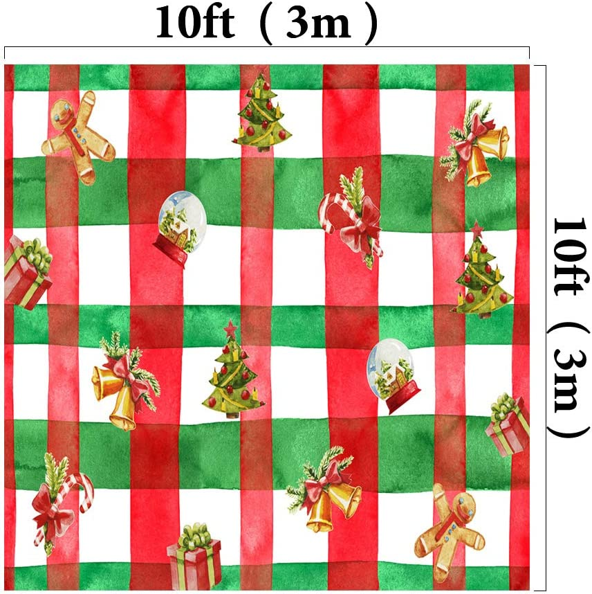 Kate 10x10ft//3x3m Xmas Theme Backdrops Red Green Christmas Tree Candy Gifts Photography Shoot Studio Backgrounds Props
