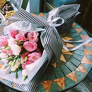 Striped Flower Packaging Paper Waterproof Flower Wrapping Paper Floral Bouquet Gift Packaging Supplies 20 Counts (Pink)