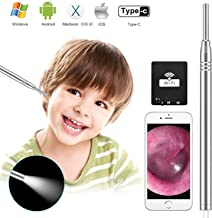 Otoscope iPhone Earwax Remover, 3.9mm Diameter 1080P HD WiFi Otoscope Ophthalmoscope Set, Ear Scope Camera Ear Cleaning Kit Ear Wax Remover Endoscope Ear Pick for iPhone,Android, Window and Mac
