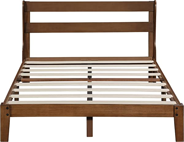 PrimaSleep PR38SF01F 12 Inch Platform Bed With Headboard Wood Slat Support Full Brown