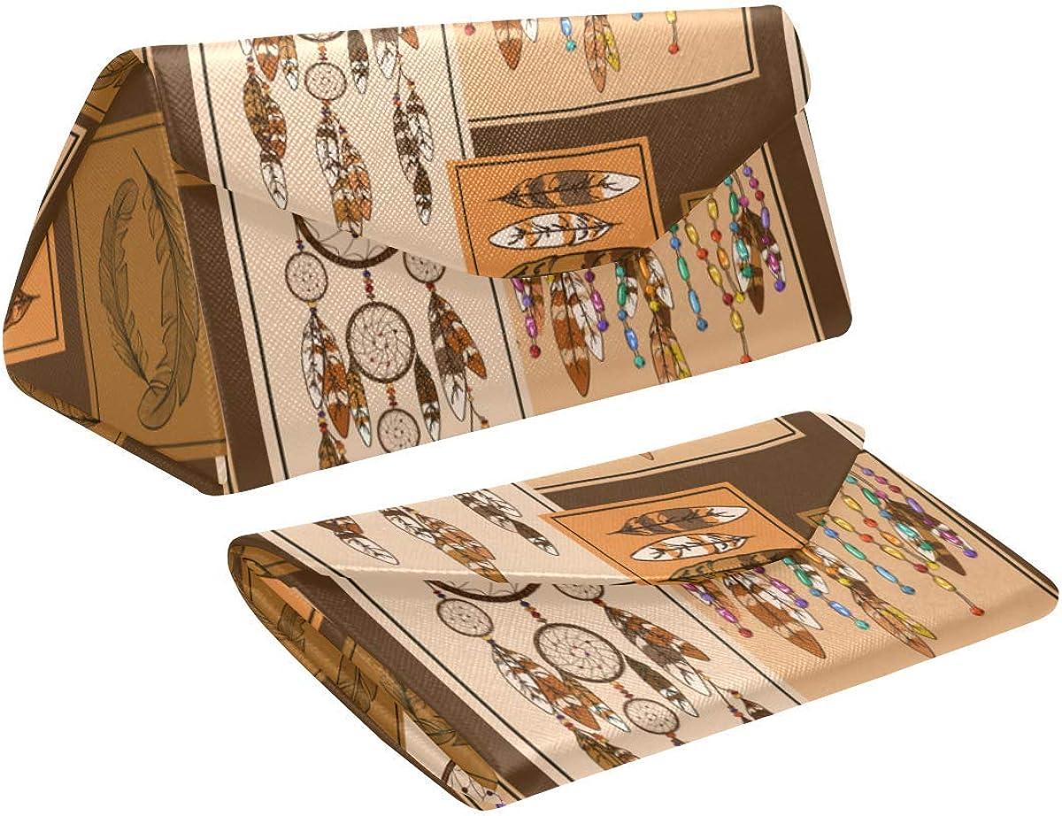 Glasses Case American Indians Dreamcather Eyeglass Case Leather Magnetic Folding Hard Case Sunglasses Eyewear Protective Case