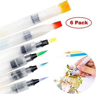 Water Coloring Brush Pens 6 Set, Brushes for Water-Soluble Color Pencils, Water-Base Markers, Solid Water Color Painting, Powdered Pigment, Art Supplies