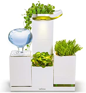 LeGrow Smart Planter Self-Watering Planter Herb Garden Office Plant Pot Planters Modular Design with Humidifier, Daylight Grow Light (Office Green) - Plants Not Included