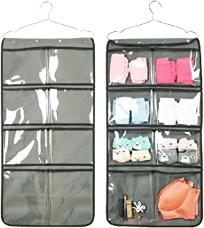 NIMES Durable Hanging Closet Underwear Sock Bra Stocking Organizer Dual-Sided Accessories Storage with 16 Large Clear Pockets (Grey)