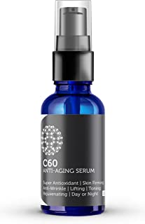 Carbon 60 Anti-Aging Face Serum 30ml with Hyaluronic Acid, Plant Stem Cells, Peptides, Vitamins B + C & Anti Aging Wrinkle Complexes for Men & Women Made with Organic Ingredients