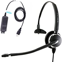 Best Noise Cancelling Monaural Plug N Play USB Headset for MS Lync, Skype, 3CX, Bria X-Lite. Compatible with Plantronics Quick Disconnect.
