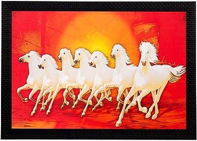 eCraftIndia 'Running White Lucky Horses' Matt Textured UV Art Painting (Synthetic Wood, 51 cm x 36 cm)