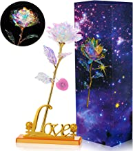 WILLBOND Colorful Galaxy Rose Flower Gift LED Light Artificial Rose Flower with Love Shape Base for Valentine's Day, Mother's Day, Thanksgiving, Birthday, Anniversary, Wedding Gifts Supplies