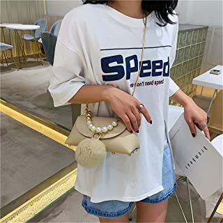 ZZZ Chain Shoulder Bag Pearl Handbag Studded Fashion Hair Ball Messenger Bag fashion (Color : Khaki)