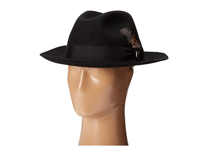 Stacy Adams Wool Felt Fedora w/ Grosgrain Band (Black) Fedora Hats