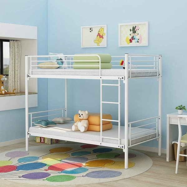 Bunk Bed Modern Style Metal Bed Frame Platform With Steel Slats Support No Box Spring Needed Heavy Duty Steel Legs For Kids Boys Girls Youth Teens Adults Double Twin And Twin Finish 035DW White