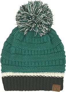 C.C CC Football Basketball Team Colors Pom Winter Chunky Stretchy Knit Beanie Hat