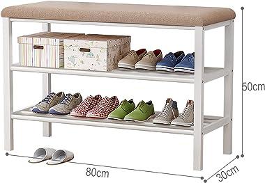 Plasaig - Banc à chaussures, étagère à chaussures à 3 niveaux avec siège rembourré et cadre en acier, pour entrée, couloir, s