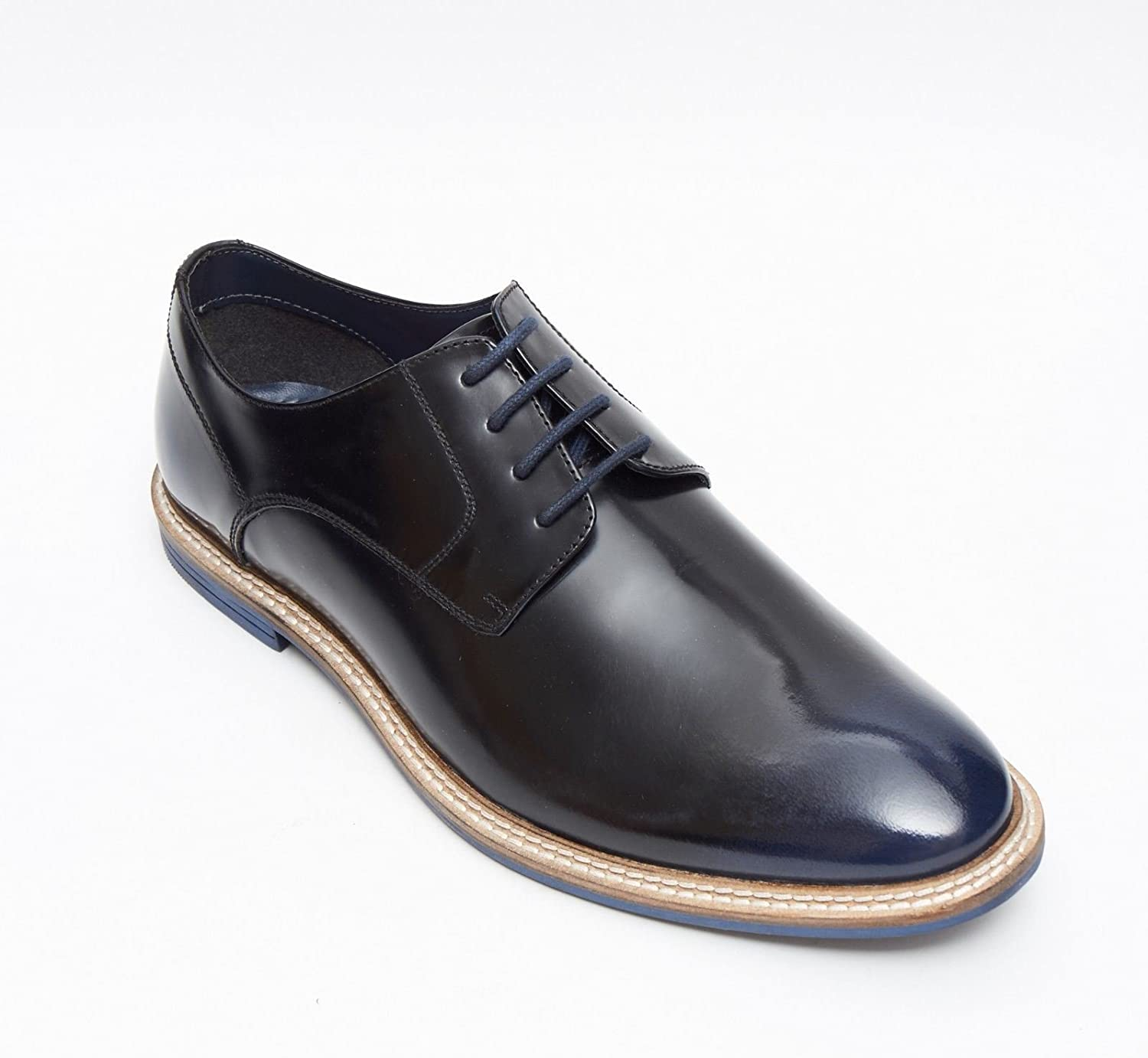 Lucini Formal Men bluee Navy Leather Formal Lace-Up shoes Wedding Office