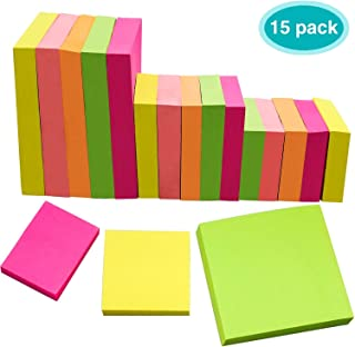Sticky Notes 15 Pads, EAONE Colorful Sticky Notes Assorted Sizes (3 X 3 in, 2 X 2 in, 1.5 X 2 in) Super Adhesive Notes for Office/Personal,100 Sheets/Pad