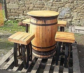 0ca17de28bb9b6 Cheeky Chicks recyclé en chêne Massif Tonneau à Whisky Bar Table et 4  tabourets