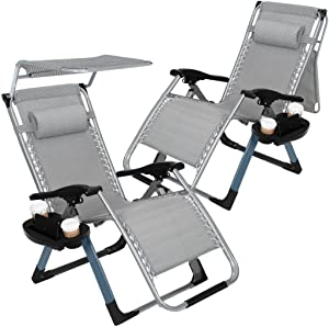 Artist Hand 2 Pack Zero Gravity Outdoor Folding Lounge Chairs-350LBS Capacity-w/Adjustable Sunshade Canopy+ Snack Tray,Lawn Patio Reclining Chairs for Travel Yard Beach Pool