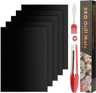 Set de 5 Tapis de Cuisson Barbecue, Tapis Barbecue Set, Non Stick Four en Téflon Tapis de Cuisson, Réutilisable, Nettoyage...