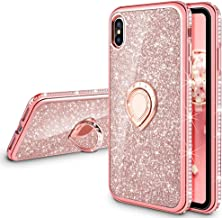 VEGO Case for iPhone Xs iPhone X 5.8 inches,Glitter Case Bling Diamond Rhinestone with Kickstand Ring Grip Girls Women Case for iPhone Xs(Rose Gold)