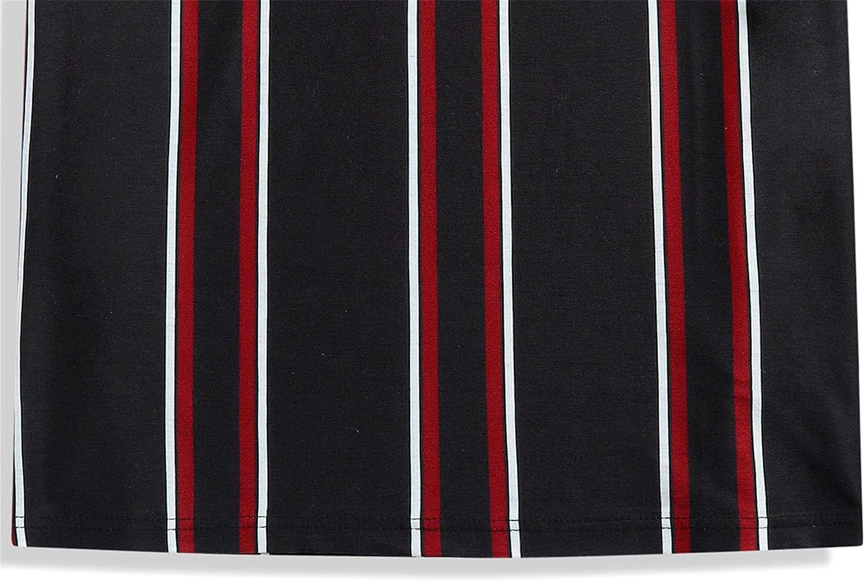 Camiseta Algod/ón Casual para Hombre Camiseta Deportivo Cuello Raya para Hombre Camiseta De La Moda De Hombre Camiseta De Redondo Elasticidad Primavera Y Verano Camisas C/ómodo Rojo