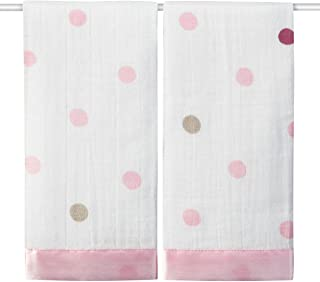 Aden and Anais Heart Breaker Muslin Security Blankets, Pink, White, 2 Count